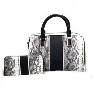 Snakeskin Satchel and Wallet Set Gray and Black